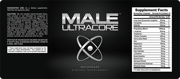Male UltraCore Ingredients Label
